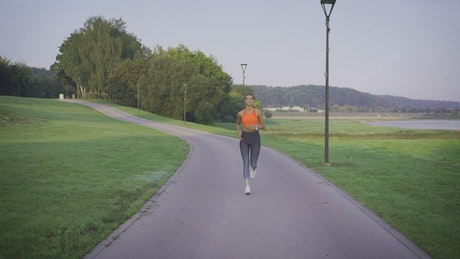 Woman finishes jogging