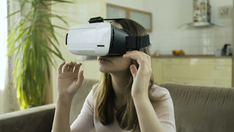 Woman frightened of virtual reality