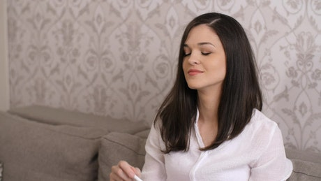 Woman happy to be pregnant