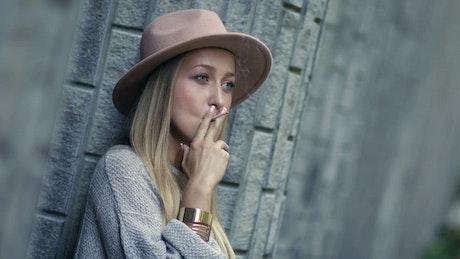 Woman having a cigarette break