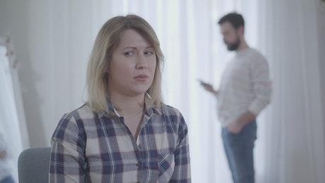 Woman jealous of husband's phone call