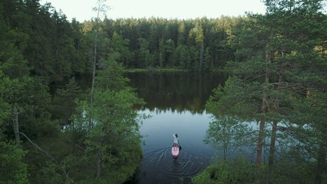 Woman on a paddleboard in the lake