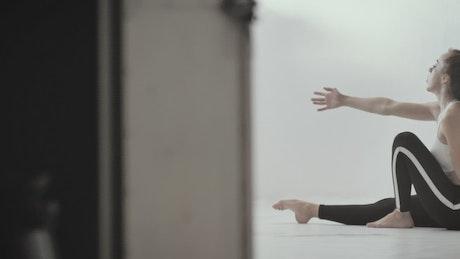Woman practicing floor performance