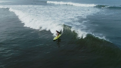 Woman practicing surf, aerial full shot