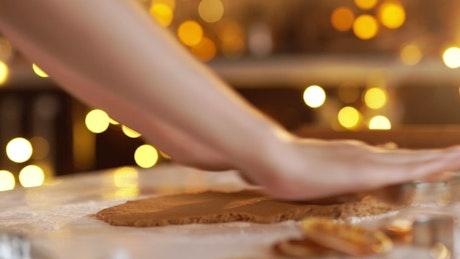 Woman preparing a traditional homemade Christmas dessert