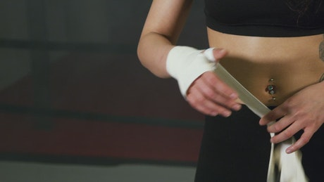 Woman preparing to box