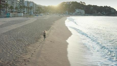 Woman running on the seashore, aerial shot