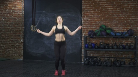 Woman skipping during a workout