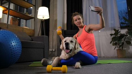 Woman taking a selfie after a workout