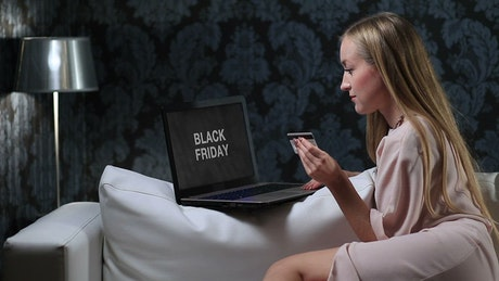Woman waiting for the Black friday