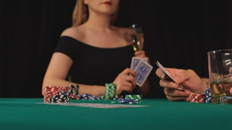 Woman wins in a poker game