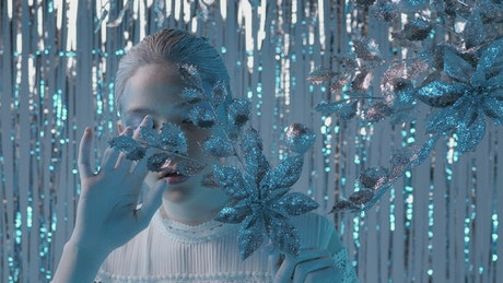Woman with makeup face with winter concept