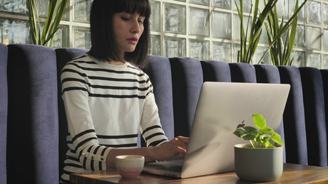 Woman working with her laptop