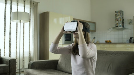 Woman working with virtual reality