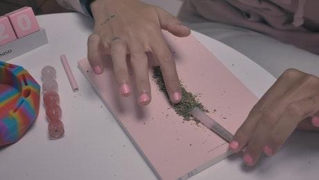 Woman's hands preparing a marijuana cigar