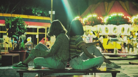 Women in an amusement park
