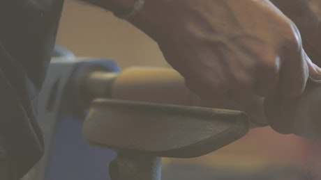 Wood lathe in action