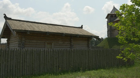 Wooden ancient house in a fortress
