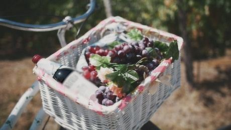 Wooden basket full of grapes