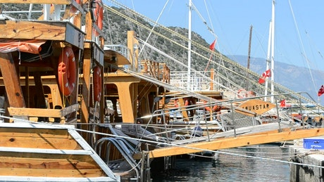 Wooden boats in port