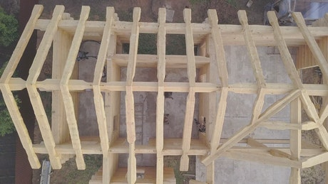 Wooden frame of a house