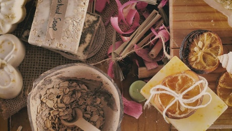 Work table with handmade soaps, still life and labels