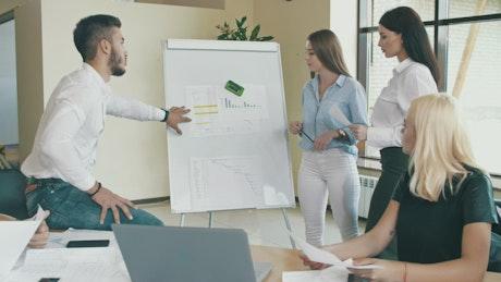 Work team analyzing graphs in office