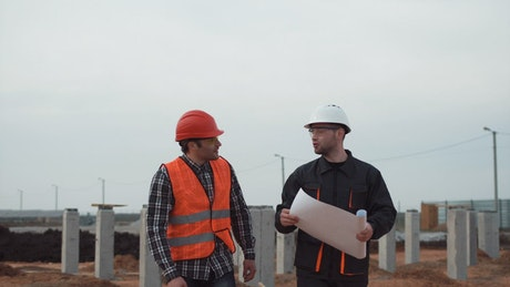 Workers conversation on a construction site