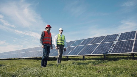 Workers walking among solar panels