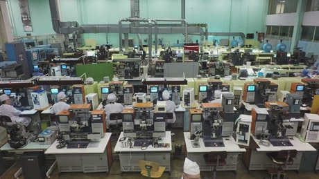 Working in a electronics factory