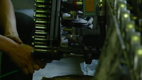 Working on a mechanical machine