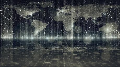 World map in a digital world