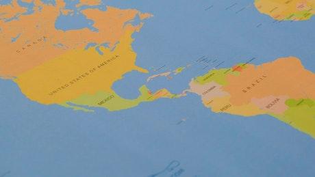 World map, pan shot