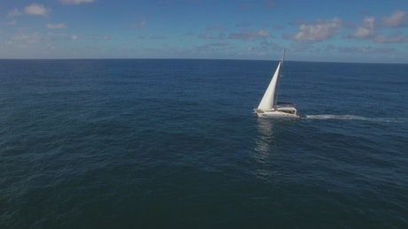 Yacht followed by a drone