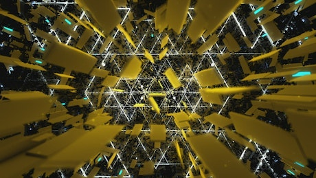 Yellow background with triangular lights shapes
