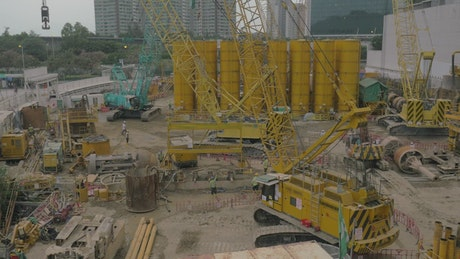 Yellow crane at a construction site