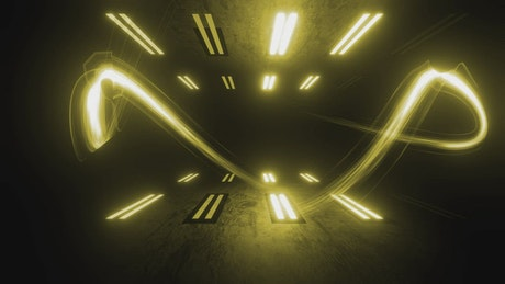 Yellow light beams bouncing off in 3D