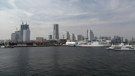 Yokohama bay  and skyline time lapse