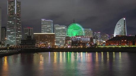 Yokohama city landscape at night