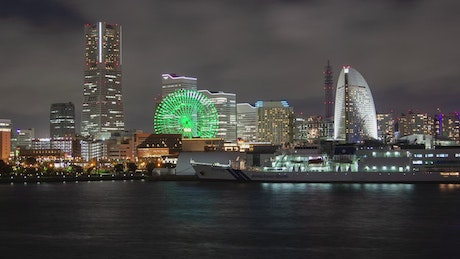 Yokohama cityscape and harbor at night
