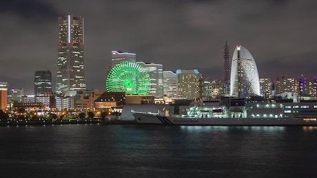 Yokohama cityscape and harbor at night