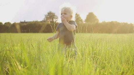Young boy eating grass