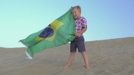 Young boy holding the Brazilian flag
