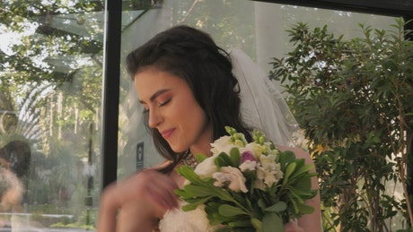 Young bride getting ready for her wedding