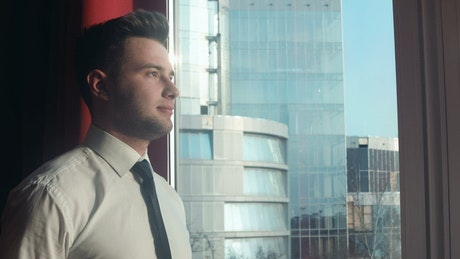 Young businessman portrait near the window