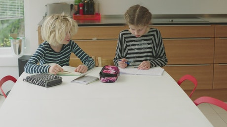 Young children learning at home