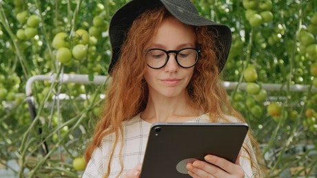 Young farmer using her tablet at a greenhouse