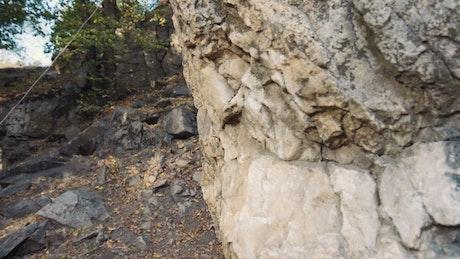 Young man climbing a rock