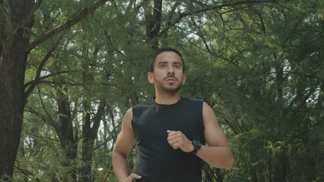 Young man jogging in a park with many trees