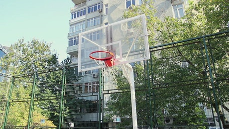 Young man playing basketball in a park
